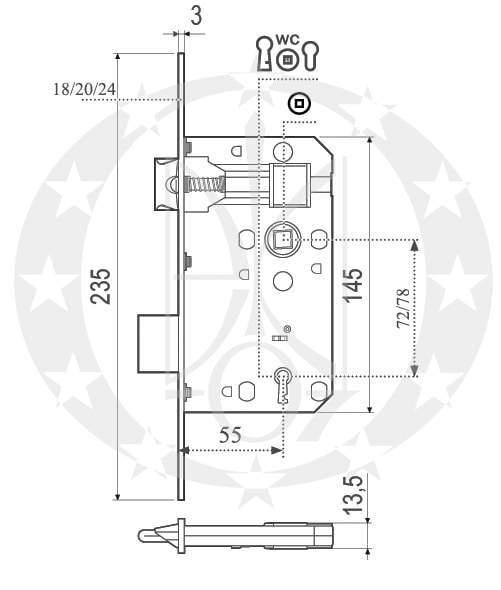 Замок під ключ AGB Euro 72 72/55 (B10071.55.03) креслення