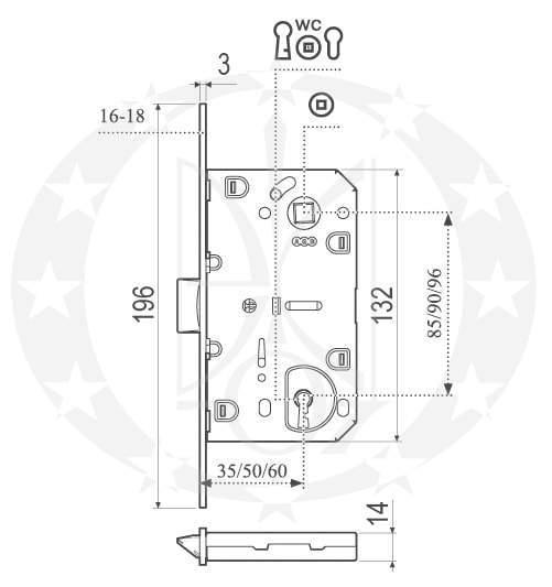 Замок AGB Mediana Evolution (B01103.50.03) креслення