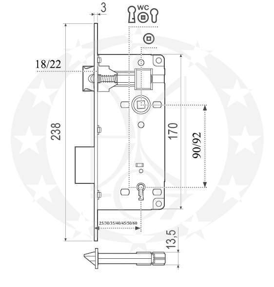 Замок AGB Patent Grande 90/50 WC(B00598.50.03) креслення