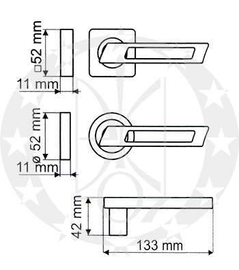 Ручка дверна Gamet FINESTRO DH-92A-24Z-AB-KW-BL креслення