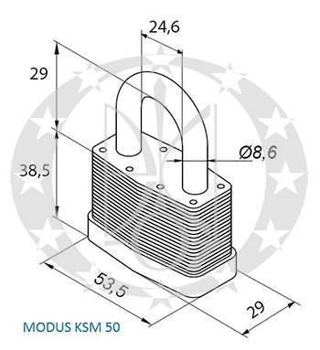 Навісний замок GERDA KSM-50 MODUS креслення