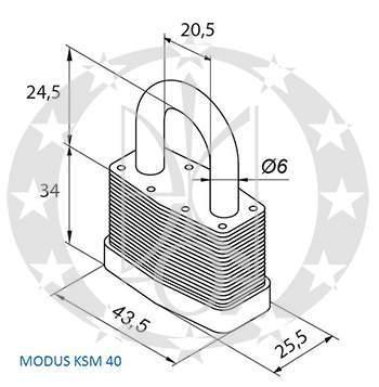 Навісний замок колодка GERDA KSM-40 MODUS креслення