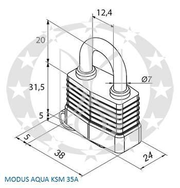 Навісний замок GERDA KSM-35A MODUS AQUA