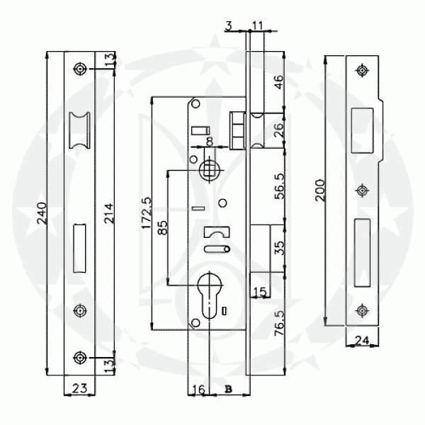 Замок IMPERIAL №155-20 85/20 PZ креслення