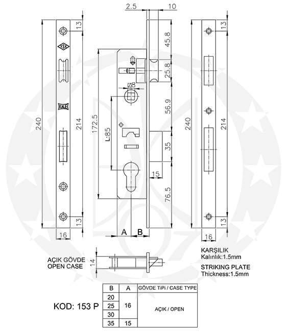 Замок KALE №153-P 85/35 PZ креслення