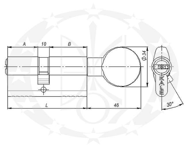 Серцевина KALE 164 BM 35/35 креслення