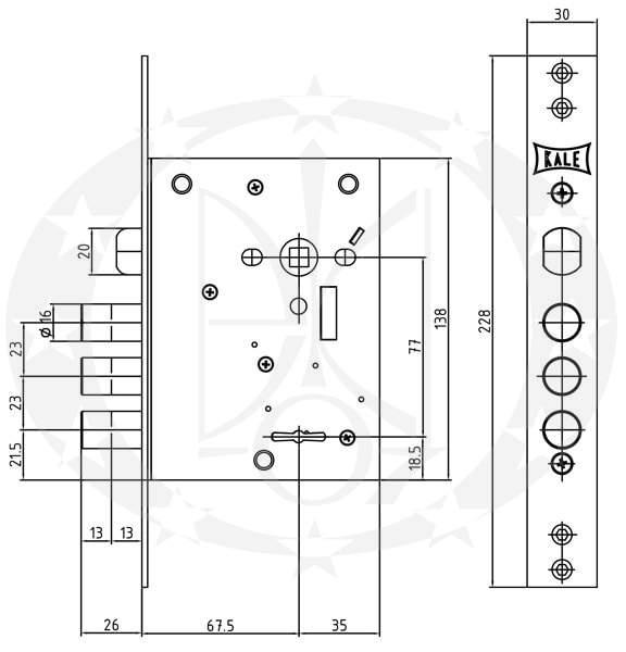 Замок під ключ KALE №442 L-4 77/65 креслення розміри