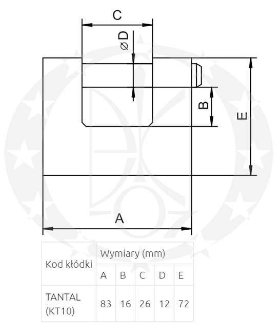 Замок LOB TANTAL KT10 креслення