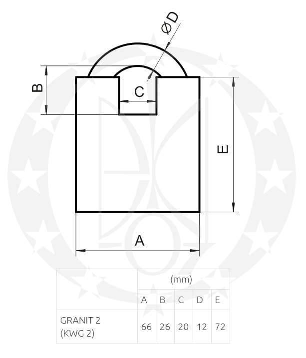 Замок LOB GRANIT-2 KWG2 креслення