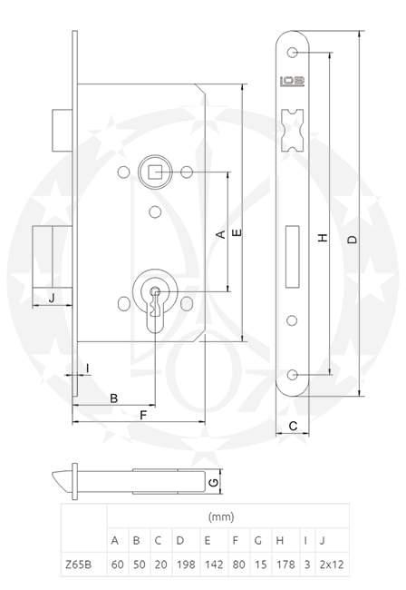 Замок LOB Z-65B 60/50 PZ креслення