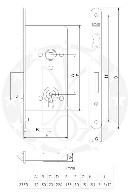 Замок циліндровий LOB Z-75B креслення