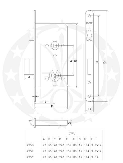 Замок LOB Z-75C 72/50 WC креслення
