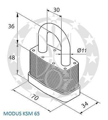 Замок GERDA KSM-65 MODUS креслення