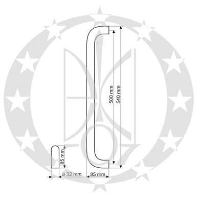 Антаба GAMET USZ-01-SS 32 х 540мм креслення