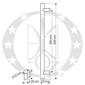 Антаба ручка-скоба GAMET USZ-02-SS креслення розміри