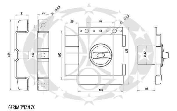 Замок GERDA - TYTAN ZX GT-8 креслення