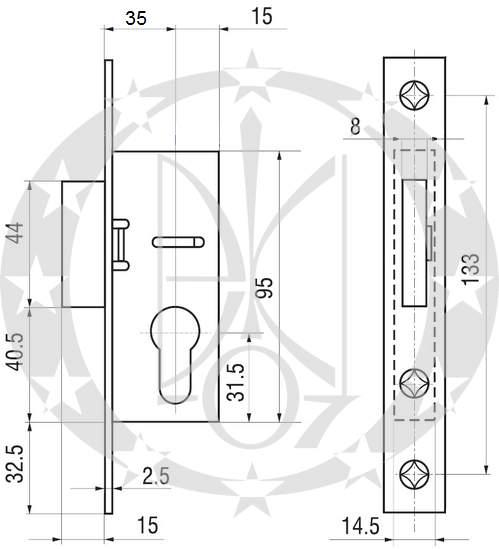 Додатковий замок GERDA ZW300D креслення