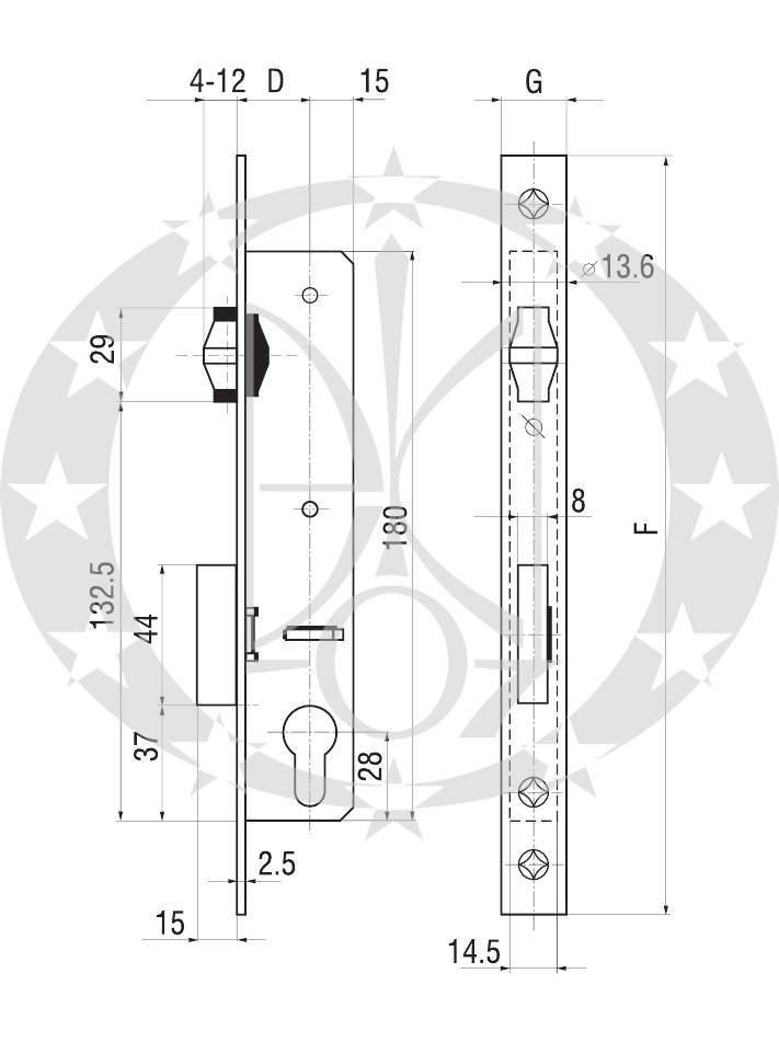 Замок роликовий GERDA ZW - 300 R /35 креслення