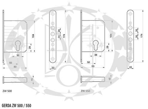 Замок 3 ригелевий GERDA ZW - 500