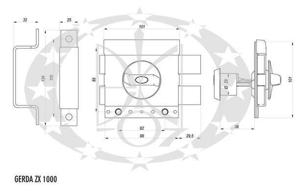 Замок GERDA - TYTAN ZX1000 креслення