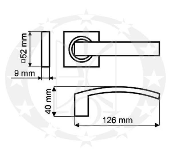 Дверна ручка Gamet MISTICO DH-27-26J-04-KW креслення