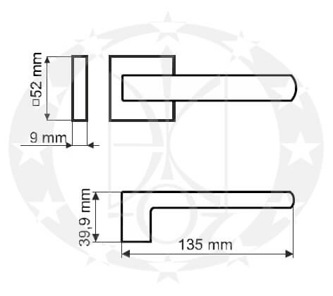 Дверна ручка Gamet DH-40-26J-LPM40-KW-A креслення