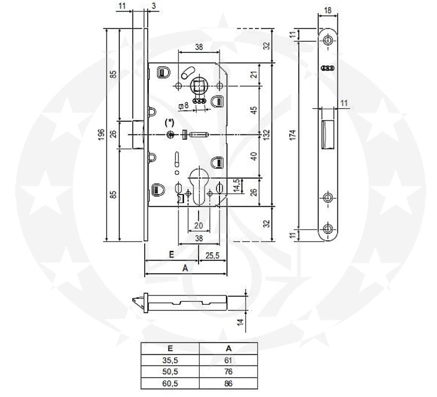 Замок AGB Mediana Evolution 85/50 PZ (B01103.50.06) креслення розміри