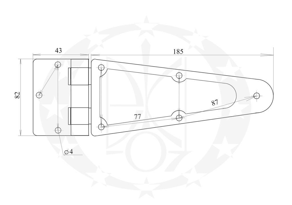 Завіс Стріла оцинкований 225 мм креслення