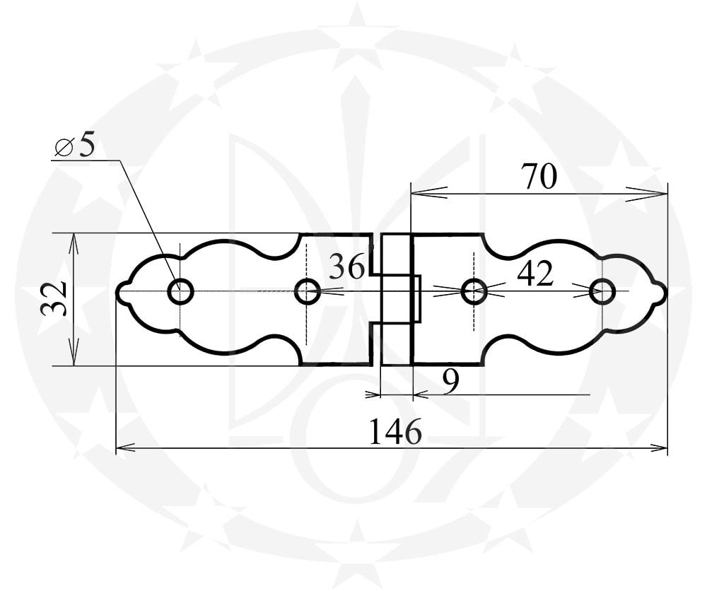 Завіс Стріла фігурна оцинкована 90 мм