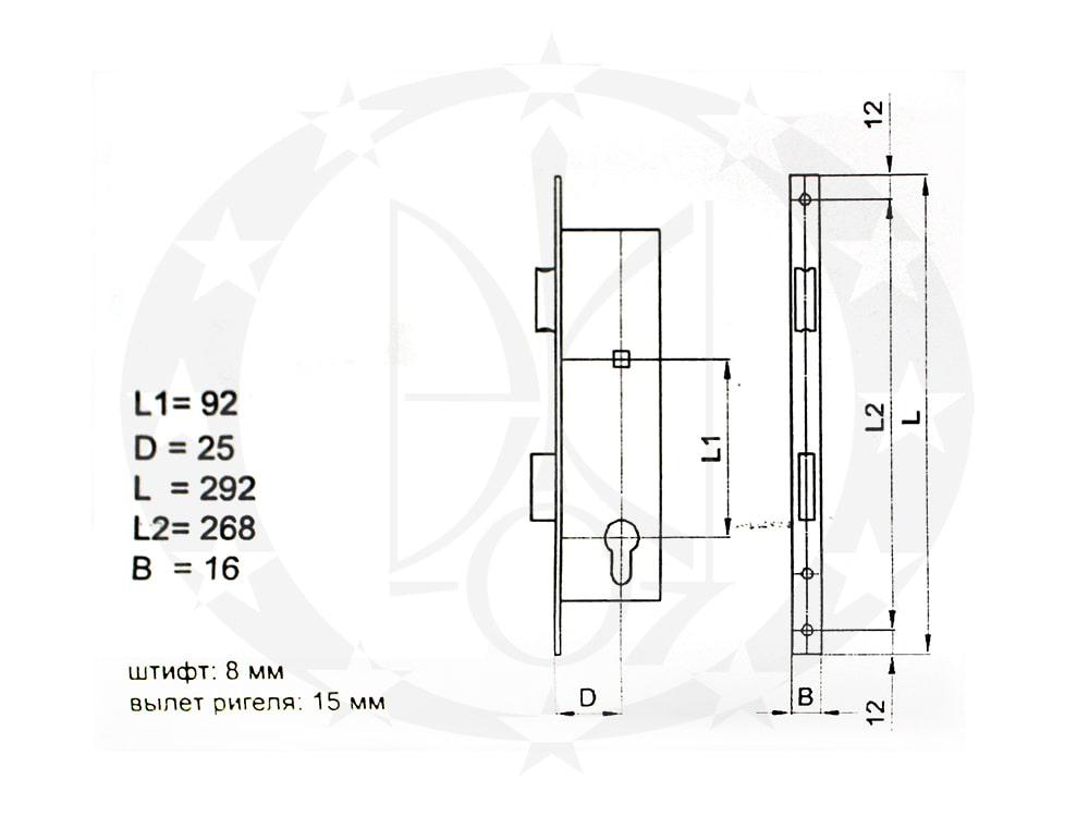 Замок ASTEX 92/25 PZ 16 мм креслення розміри