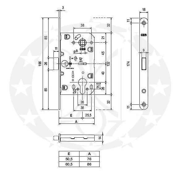 Замок AGB Mediana Polaris XT 85/50 PZ чорний (B06103.50.93)