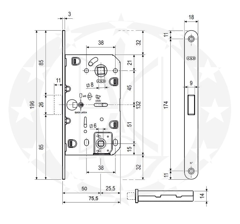 Замок AGB Mediana Polaris XT 96/50 WC чорний