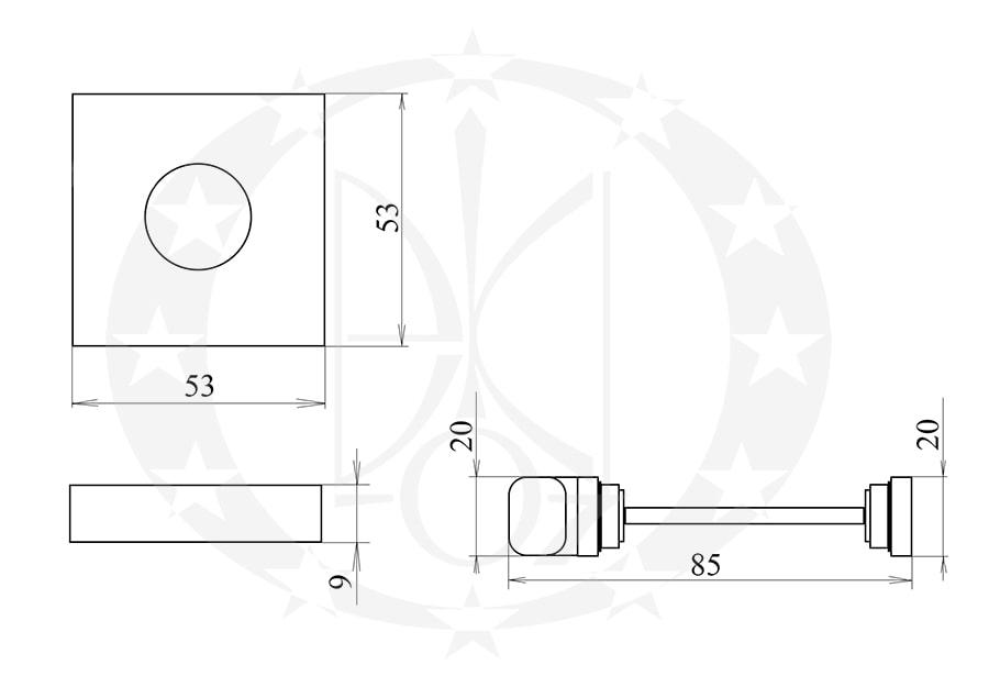 Дверна накладка PLT-26-WC-04-KW WC креслення