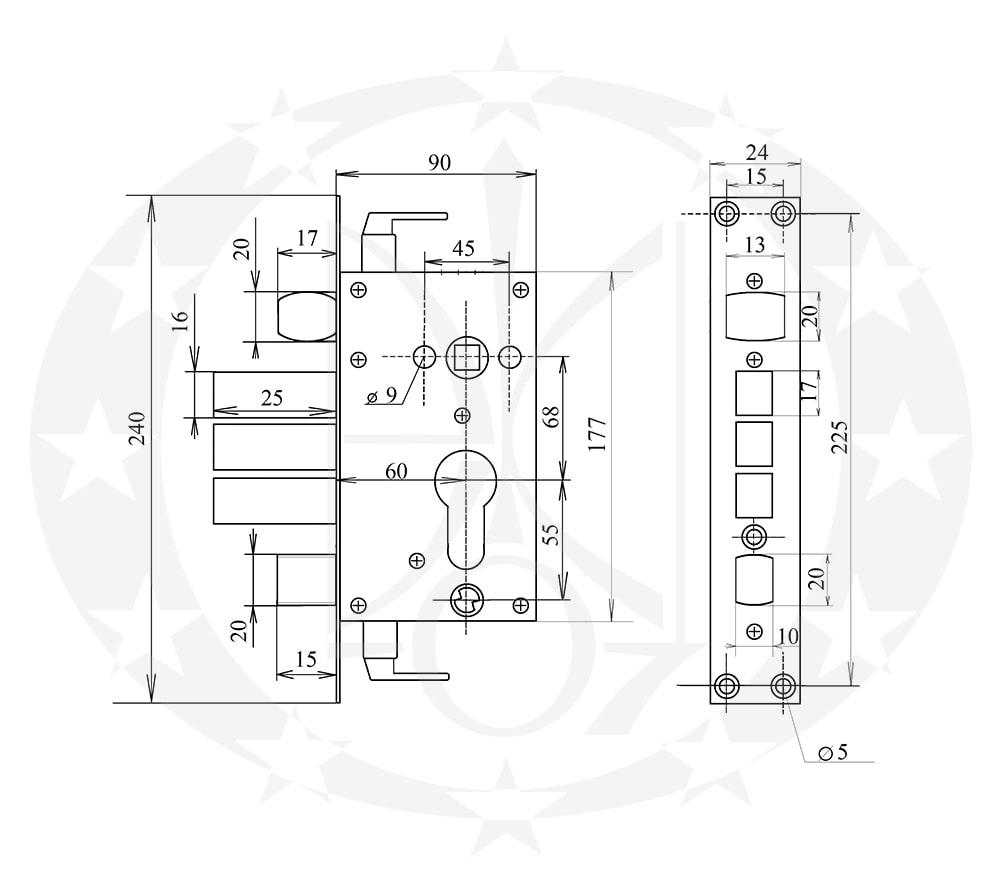 Замок CLASS A18 68/60 PZ креслення розміри