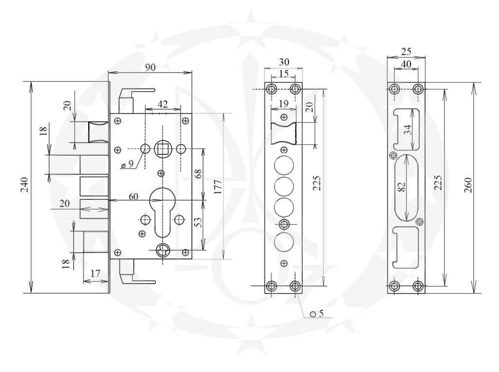 Замок CLASS A14 68/60 PZ креслення
