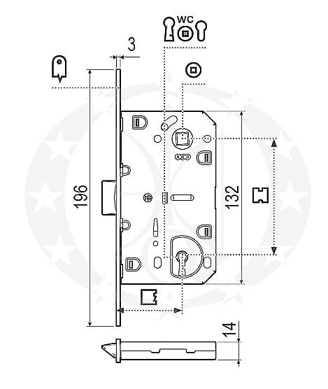 Замок AGB Mediana Evolution 96/50 WC нікель (B01102.50.06)