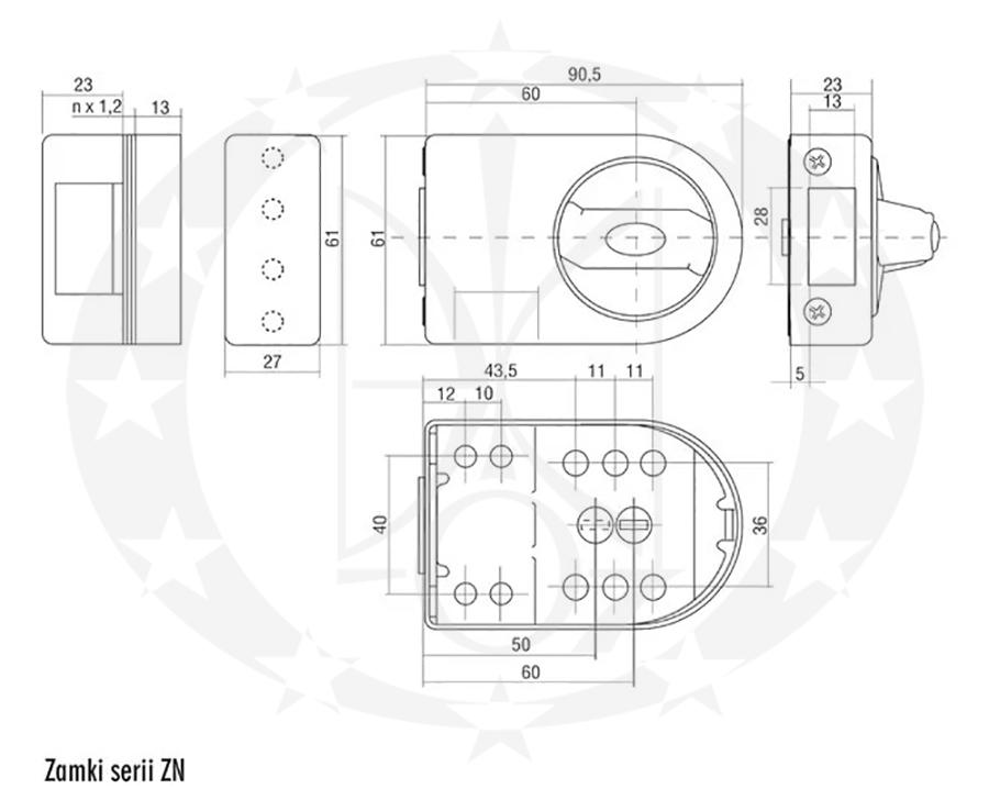 Замок GERDA ZN100 креслення розміри