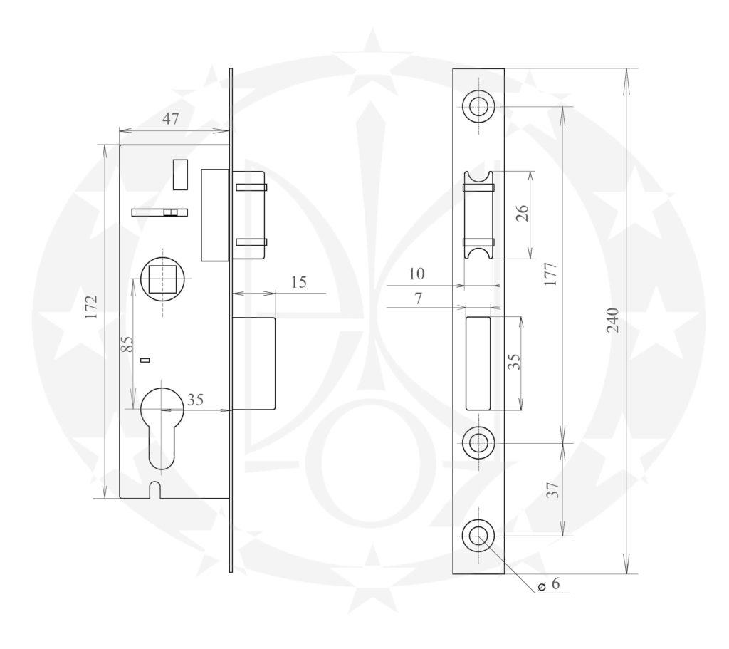 Замок роликовий REZE /35 PZ креслення розміри