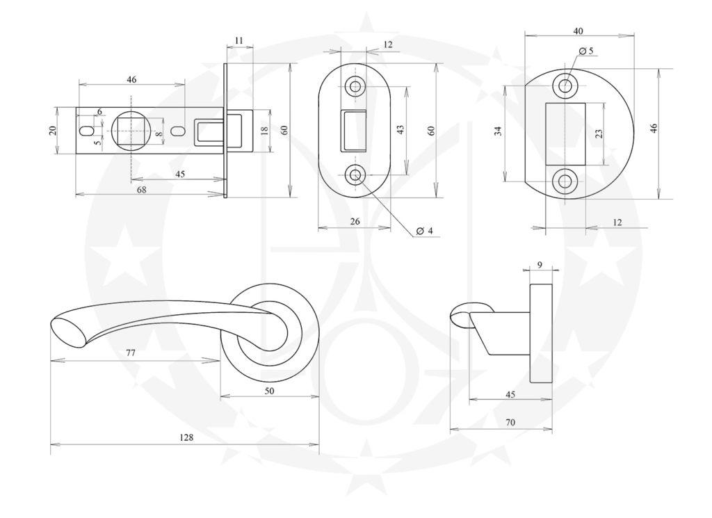 Защіпка міжкімнатна АРІКО ЗЩ114-5 з ручкою креслення розміри