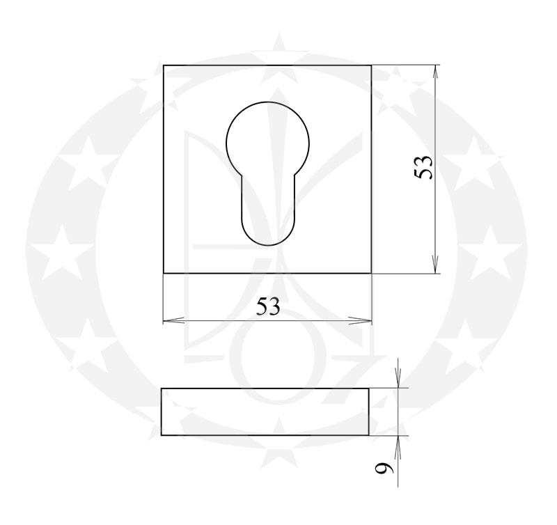 Дверна накладка Gamet PLT-26J-Y-AB-KW-A PZ креслення