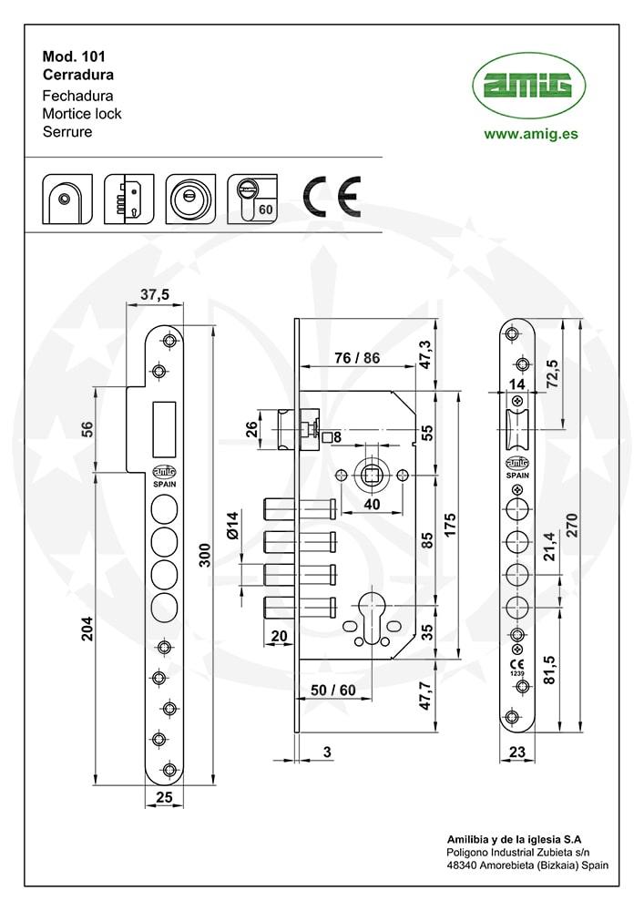 Замок AMIG mod.110 85/50 PZ замок креслення