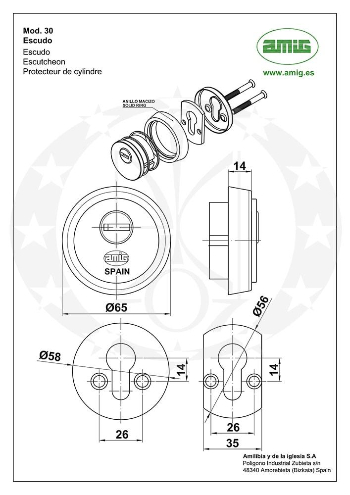 Замок AMIG mod.110 85/50 PZ накладки креслення