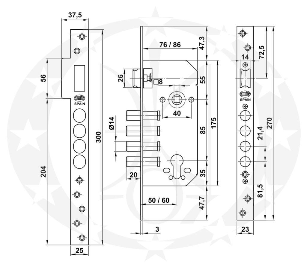 Замок AMIG mod.100 (21636) BASE 85/50 PZ креслення розміри