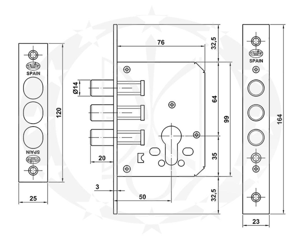 Механізм AMIG mod.102 (11838) /50 PZ хром сатинований креслення