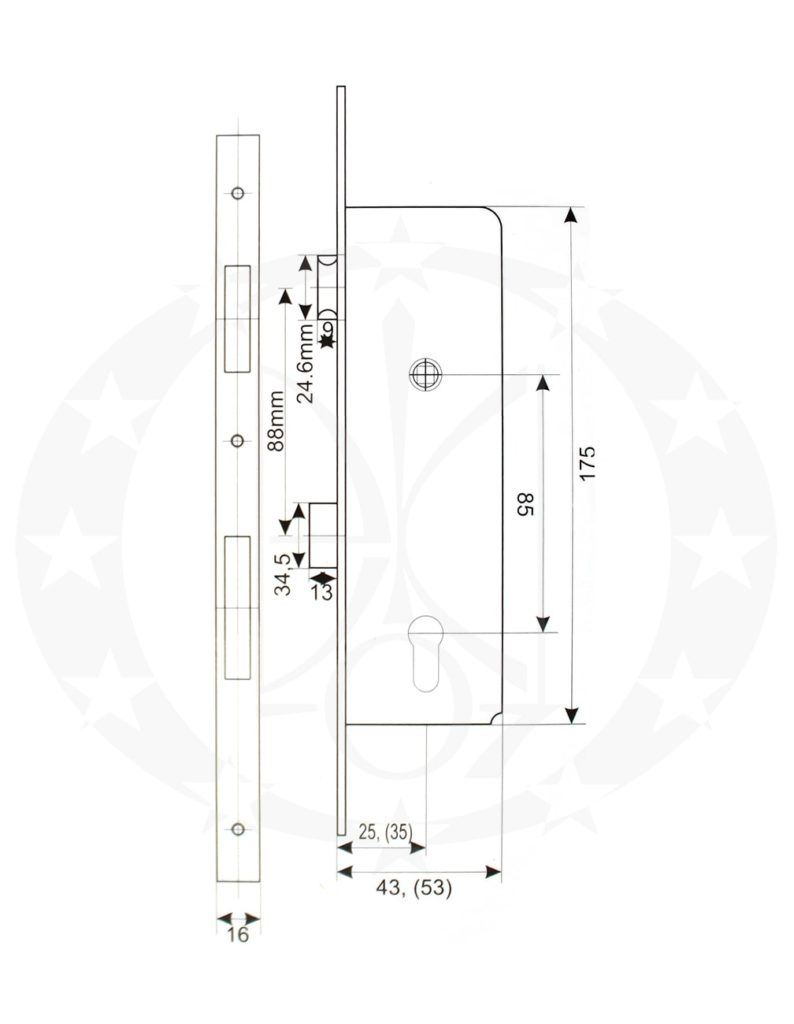 Замок OCTO PROFI 85/25 PZ 16 мм (015-192) креслення розміри