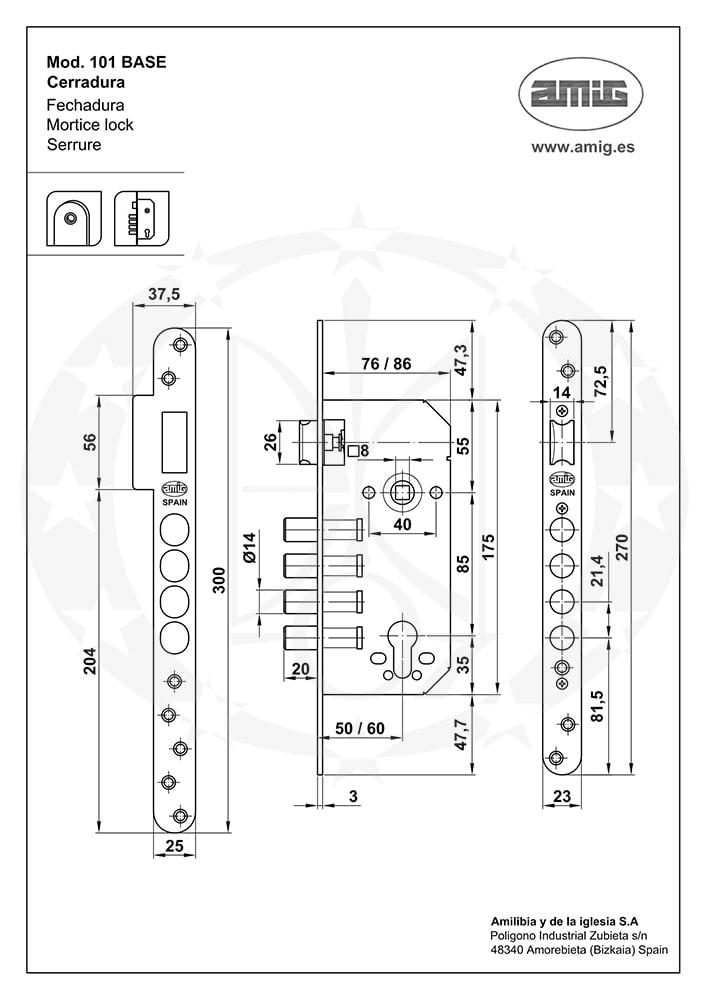 Замок AMIG mod.101 (18775) BASE 85/50 PZ латунь (15479)