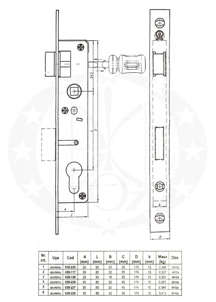 Механізм VEROFER B20Z 85/20 схема креслення розміри