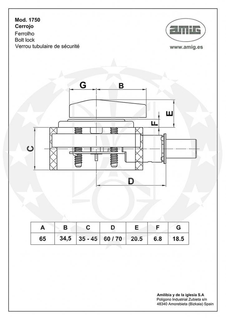 Засув AMIG mod.1750 (13448) креслення