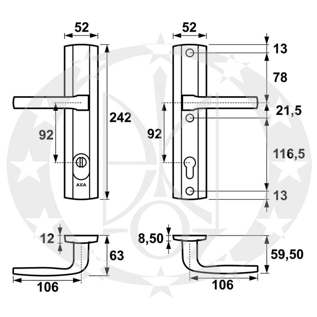 Ручка AXA - MAG PRESTIGE 90 PZ бронза atest C class F4