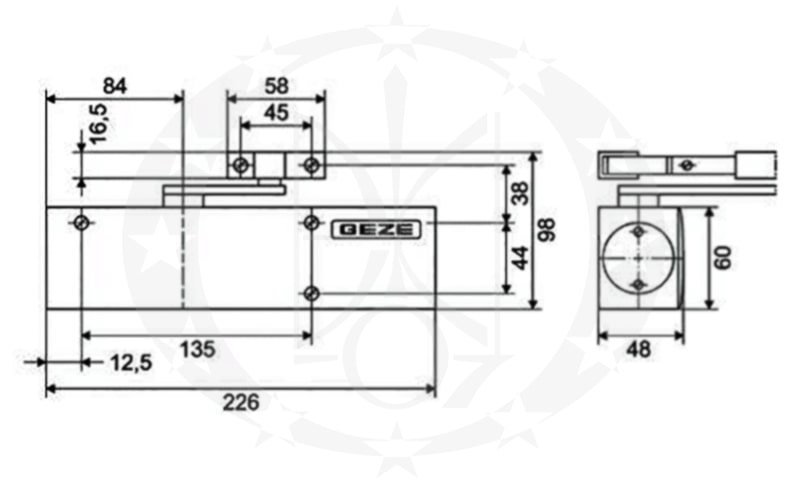 Амортизатор дверний GEZE TS2000 V BC креслення